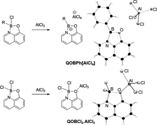Synthesis of QOBR+ andQOBCl2⋅AlCl3. R=Phenyl(QOBPh+[AlCl4]) and (5-hexyl)thienyl(QOBTh+). Single-crystal X-ray structures are shown for:QOBPh[AlCl4] andQOBCl2⋅AlCl3. Thermal ellipsoids are at the 50 %probability level.