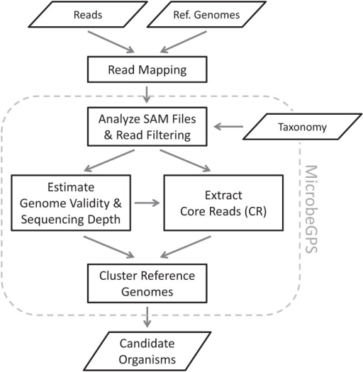 MicrobeGPS workflow.As a first step, MicrobeGPS reads and analyzes the SAM files of the metagenomic reads mapped to a set of reference genomes. Early filtering of the reads helps reducing the amount of data by discarding reads that are not meaningful for MicrobeGPS. Then, MicrobeGPS estimates the Genome Dataset Validity score and the local sequencing depth of each reference genome and uses this information to extract core reads (CR), reads that are presumably unique for a particular organism in the sample. Based on the CR and the shared reads, MicrobeGPS clusters the reference genomes into groups, where each group represents a single biological candidate organism in the sample.