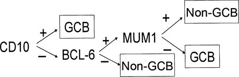 Decision tree for the immunostaining classification of diffuse large B-cell lymphoma (DLBCL). The germinal center B-cell-like (GCB) and non-GCB subtypes were classified according to the following standard: the cases were identified as GCB subtypes when the cases were CD10-positive. If they were both CD10-negative and BCL6-negative, then they belonged to the non-GCB subtype. If they were CD10-negative and BCL6-positive, the MUM1 immunostaining profile determined the subtype. The MUM1-positive cases were identified as non-GCB and MUM1-negative cases were identified as the GCB subtype.