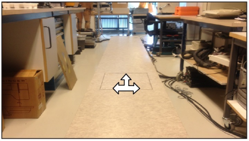Force plate installed in laboratory walkway.