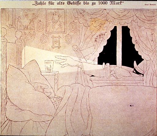 <p>A thief reaches through an open window to take a set of dentures from the bedstand of a sleeping elderly person.</p>