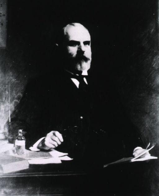 <p>Three-quarter length, seated, body to right, right arm resting on table, left hand holding book.</p>