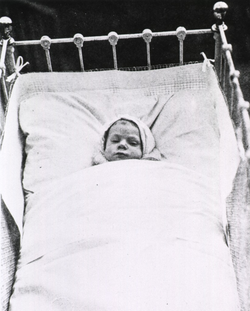<p>Head-on view of an infant in a metal crib lined with chicken wire.  Child wears a hat and is tightly wrapped in bedclothes, probably placed in hospital's &quot;sun room&quot;.</p>