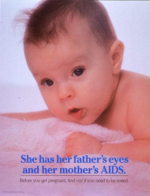 <p>Poster is a reproduction of a color photo of a baby, lying on a pink blanket.  Title near bottom of poster.  Caption below title.</p>