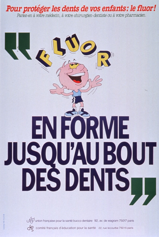 <p>White poster with multicolor lettering.  Note at top of poster urges parents to protect their children's teeth by using fluoride and to speak to a doctor, dentist, or pharmacist about fluoride.  Visual image below note is an illustration of a man in athletic clothes juggling the word &quot;fluor.&quot;  Title below illustration addresses the idea of thorough care for the teeth.  Publisher information at bottom of poster.</p>