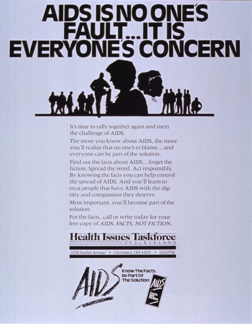 <p>White poster with black lettering.  Title at top of poster.  Visual image is an illustration featuring several silhouettes, the most prominent being the heads and shoulders of a man and woman standing back to back.  Lengthy caption below illustration encourages reader to learn about AIDS and treat people with AIDS with compassion.  Publisher information below caption.  Note at bottom of poster.</p>