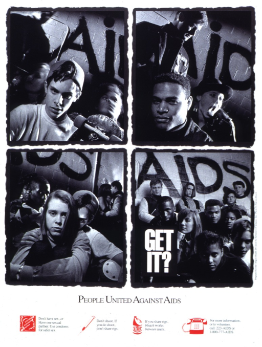 <p>White poster with white and black lettering, illustrated with four black and white photographs of youths posed in front of the same wall on which is spray-painted the word &quot;AIDS.&quot;  At the bottom are four red icons:  a condom, a syringe, a bottle of bleach, and a telephone.  Next to the first three icons are messages relating to safer sex and drug use.  Next to the telephone are two telephone numbers and a request for volunteers.</p>