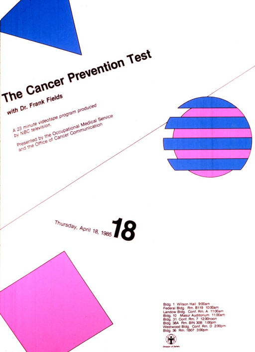 <p>Poster is chiefly text.  The pictures are of a pink square, most of a turquoise triangle, and a circle with pink and turquoise stripes, the turquoise stripes sticking out from the left edge of the circle.  A list of times and places of showings is on the bottom right.</p>