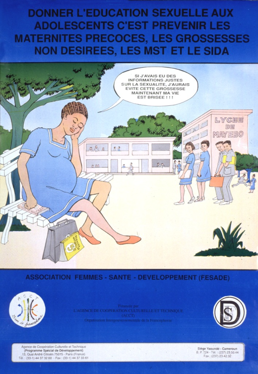 <p>Predominantly blue poster with black lettering.  Title at top of poster.  Visual image is an illustration of a young woman sitting on a bench.  The young woman is dressed in a school uniform, surrounded by textbooks, and sitting in a schoolyard.  She is also pregnant.  The young woman speaks the note text, in which she says that she could have avoided her pregnancy with the right information and that now her life is in pieces.  Publisher and sponsor information below illustration.</p>