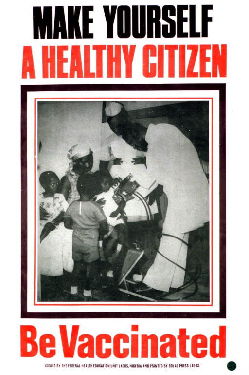 <p>Predominantly white poster with red and black lettering.  Title at top of poster.  Visual image is a reproduction of a b&amp;w photo showing a child being vaccinated.  The mother holds the child and several more children stand around.  One health worker holds the subject child's arm and another health worker administers the vaccination.  Caption below photo.  Publisher information at bottom of poster.</p>