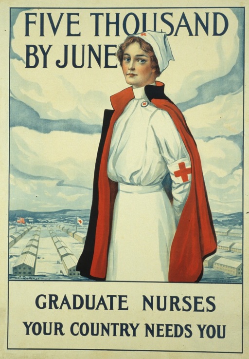 <p>The poster is white and has the picture of a Red Cross nurse with a barracks in the background. The nurse is wearing a white uniform with the Red Cross logo on it and has a blue cape lined in red draped over her shoulders. The American flag and Red Cross flag are part of the barracks scene.</p>