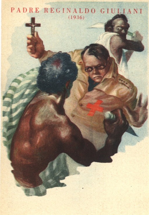 <p>Color drawing of two East Africans (supposedly Ethiopians) murdering father Reginaldo Giuliani who looks fearless and is holding a crucifix high up in his right hand.</p>