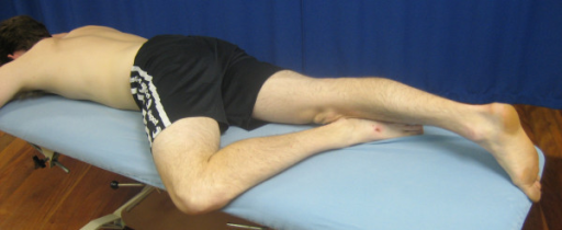 'Figure 4' anterior hip stretch in prone.