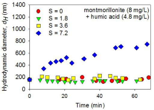 Average hydrodynamic diameters (dH) of montmorillonite (8 mg/L) + HA (4.8 mg/L) suspensions in constantly stirred solutions were measured as a function of time after mixing with artificial seawater (ASW) using dynamic light spectroscopy. The pH was circumneutral. The results show a lack of aggregation in the zero salinity suspension. In addition, no time-dependent aggregation was detected in suspensions with elevated salinity (i.e., S = 1.8 and 3.6 psu). At the highest salinity value investigated (S = 7.2 psu), the colloidal particles gradually aggregated during the ~60 minutes following the ASW mixing.