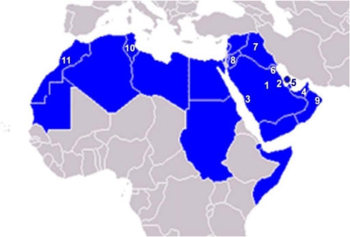 Map of the Arab countries showing the participating cit – Map Arab Countries