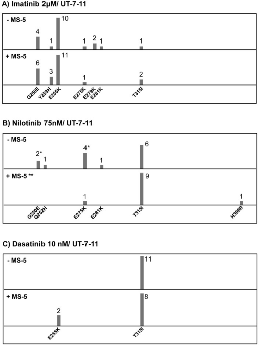 ENU mutagenized resistant clones from UT-7-11 cells treated with 1st and 2nd generation TKIs (imatinib, nilotinib and dasatinib) with or without the stromal cell line MS-5(A) Clones resistant to imatinib at a concentration of 2μM. (B) Clones resistant to nilotinib at a concentration of 75nM. (C) Clones resistant to dasatinib at a concentration of 10 nM. Each bar represents the number of clones of the indicated KD mutation. * Only one clone carried a compound mutation (G250E+E275K) and was counted in both bars in this condition. ** No outgrowth was observed in this condition; 24 clones were tested after 14 days of culture in methylcellulose.