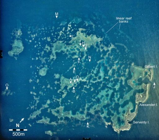 Aerial image of the Maze in the Easter Group of the Houtman Abrolhos Islands (28°41′S 113°49′E).The 15 survey sites are labelled A to O. Reproduced by permission of the Western Australian Land Information Authority (Landgate) 2015.