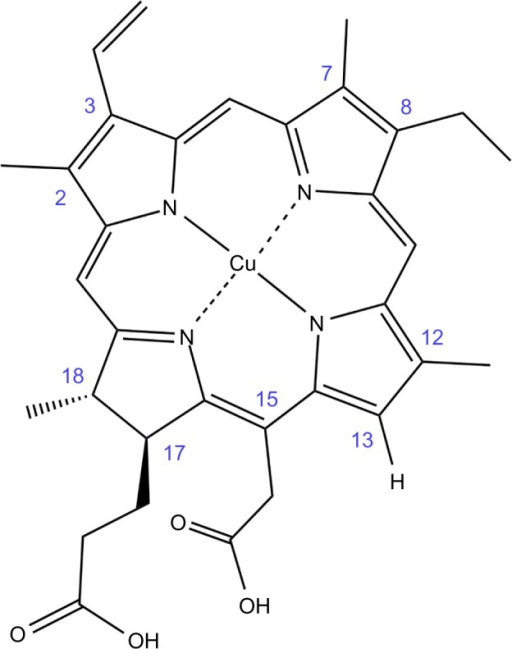 Structure of copper isochlorin e4.Notes: Structure provided by: Frontier Scientific, Logan, Utah.