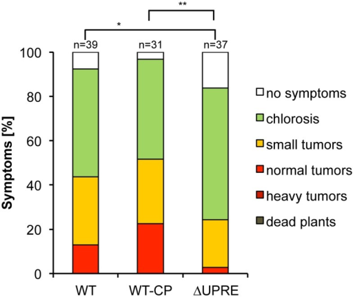 Loss of UPR-dependent pit1/2 expression leads to significantly impaired virulence.The haploid pathogenic strain SG200 (WT) and derivatives were inoculated into seven-day-old VA35 maize seedlings. Comparison between WT and Δpit1/2 complemented strains harboring (WT-CP) or lacking the UPRE (ΔUPRE). Disease symptoms were rated eight days after inoculation and grouped into categories depicted on the right. n represents the number of inoculated plants. Statistical significance of alteration in disease rating was calculated using the Wilcoxon-rank-sum test. *P value < 0.05, **<0.01.