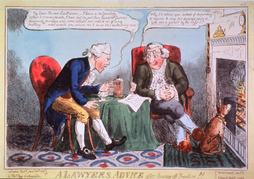 <p>Two men are sitting at a table; the man on the left, complaining about a theft, is seeking advice on how to proceed with his dilemma; the lawyer is sitting comfortably next to the fireplace with a dog at his feet and a glass of spirits at his elbow.</p>