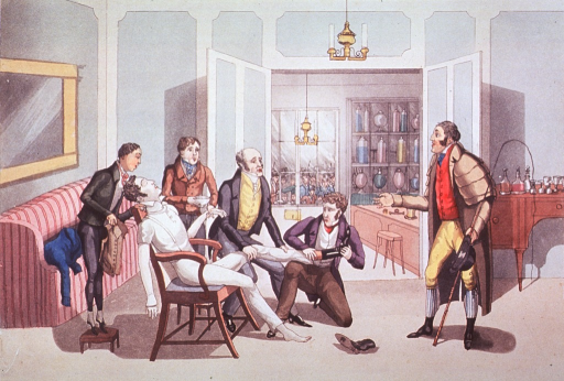<p>Interior view of pharmacy:  A man sprawled in a chair is being attended to by four men.  He is the victim of a traffic mishap and now his garments are being removed so as to ascertain his injuries.  The driver of the carriage stands to the right.</p>