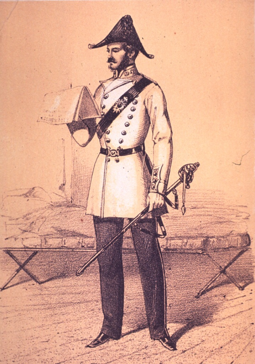 <p>Standing, left pose, in uniform, holding sword and reading.</p>