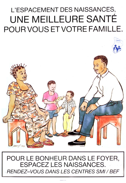 <p>White poster with black lettering.  Title at top of poster.  Blue publisher logo below title on right.  Visual image is an illustration of a family.  The mother, who is pregnant, and the father sit on benches.  Two boys of clearly different ages stand nearby with a toy car.  Caption below illustration.</p>