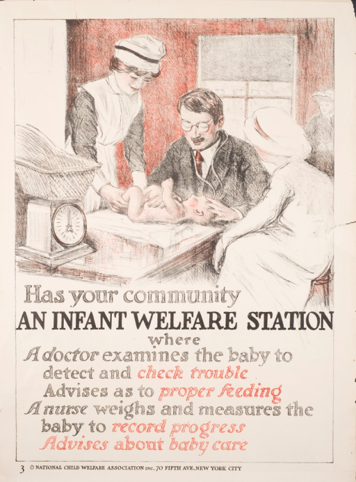 <p>Predominantly white poster with red and black lettering. Visual image is a drawing of a doctor and 2 nurses examining a baby. Title below image. Publisher information at bottom of poster.</p>