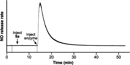 Chemiluminescence trace showing the time course of NO release from 0.39 µM 9a at 37 °C in 50 mM citrate buffer (pH 5.0) with 1.6 µg/mL of jack bean β-N-acetylglucosaminidase.