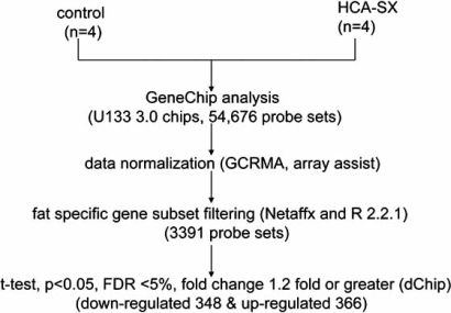 Flowchart of GeneChip® data analysis scheme. RNA was extracted from each sample and used to assess HCA-SX induced alterations in gene expression in human adipocytes with human genome microarray (U133 v2.0). Raw data were collected by GeneChip® operating software. Data contained in the .cel files were normalized by ArrayAssist® Expression software. The NetAffx ™ software was used to identify fat-specific probes. This subset was derived from the main subset with R 2.2.1 software. Genes whose expression was significantly (P<0.05) altered between the two groups were identified by the dChip software with the testing parameter values set as indicated in the diagram. FDR = false discovery rate. Image used with permission from Mary Ann Liebert, Incorporated [95].