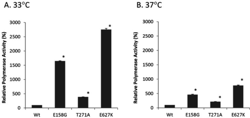 Polymerase activity of H5N1 RNP complexes containing mutations E158G, T271A and E627K in PB2.293T cells were co-transfected with expression plasmids of NP, PA, PB1 and either wild type (WT) or PB2 mutants with the indicated amino acid substitution of E158G, T271A or E627K, together with pPolI-vNP-Luc and a reporter plasmid pGL4.73. Cells were incubated at (A) 33°C, (B) 37°C. Polymerase activity was normalized with the expression of a reporter plasmid. Relative polymerase activity (%) was expressed as relative activity to WT. Results shown are means with standard deviations from three independent assays. *indicates P<0.05 when compared to WT.