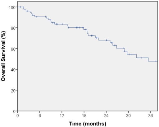Kaplan–Meier curve for overall survival. Median follow-up for overall survival was 18.8 months. The 2-year overall survival was 68% in this patient population.