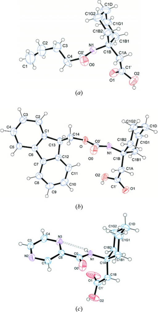 ORTEP view of the mol­ecular conformation with the atom-labelling scheme. for Valeroyl-β3,3-Ac6c-OH (I), (b) Fmoc-β3,3-Ac6c-OH (II) and (c) Pyr-β3,3-Ac6c-OH (III). The displacement ellipsoids are drawn at the 40% probability level. H atoms are shown as small spheres of arbitrary radii.