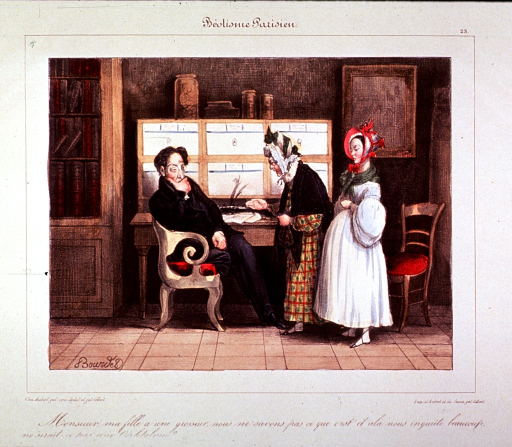 <p>Interior view of a physician's office; a mother, standing with her pregnant daughter, is speaking to a physician sitting in a chair at his desk.</p>