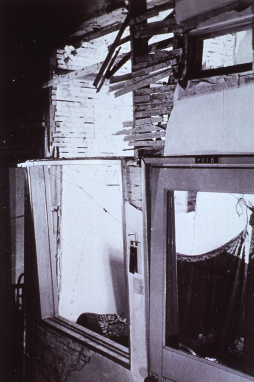 <p>Interior view of the Sick-room of the Japan Red Cross Hospital.  Damage to windows and partitions.  Note the highly inflammable lathwork used in the &quot;fire-proof&quot; building.</p>