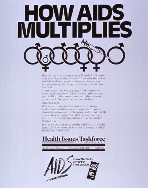 <p>White poster with black lettering.  Title at top of poster.  Visual image below title is a string of symbols for the male and female sex, interlocked in ways suggesting both heterosexual and homosexual sex partners.  One of the female symbols is not exactly circular and has a very small male symbol inside, as if to represent a pregnant woman and her fetus.  A syringe is superimposed on the last female symbol.  Caption stresses danger of multiple sex partners.  Publisher information below caption.  Note at bottom of poster.</p>
