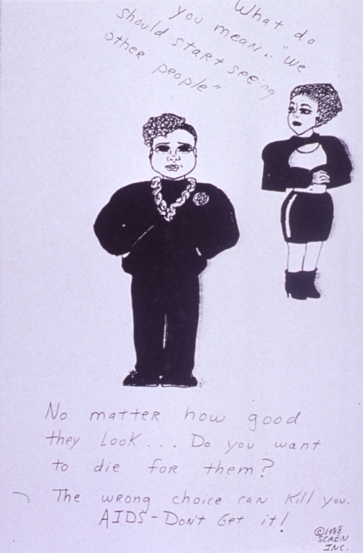 <p>White poster with black lettering.  Note in upper right corner as text spoken by a woman in the visual image.  Image is a drawing of a woman and a man standing some distance apart.  Title below drawing, caption below title.  Publisher information in lower right corner.</p>