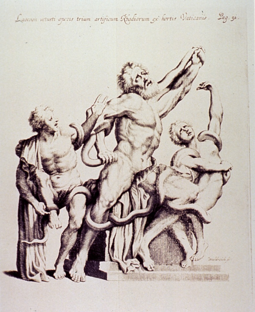 <p>Statue of three human figures struggling with a serpent.</p>