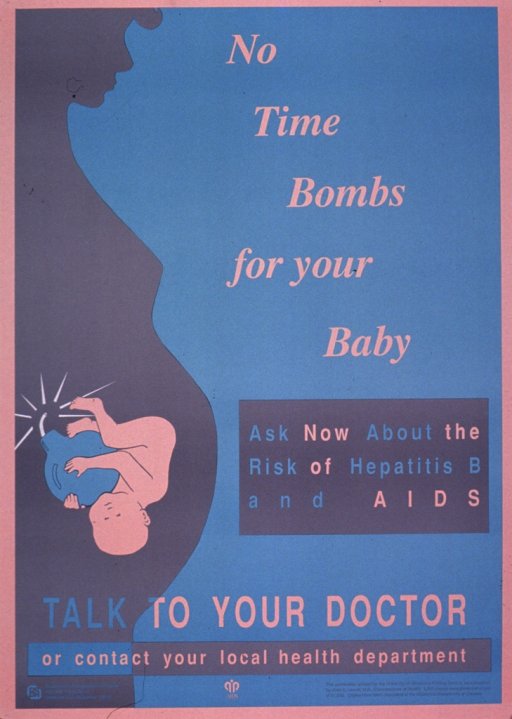 <p>Poster in shades of blue and pink, the left side of which shows the silhouette of a pregnant woman and the drawing of an unborn child curled around a bomb. The remainder of the poster is the text and publishing information.</p>