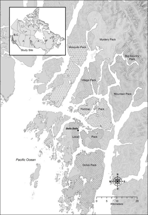 Study area and home ranges of wolf social groups. Study area in which wolves (Canis lupus) were sampled for hair and faeces on the central coast of British Columbia, 2001 to 2004. Home ranges estimated as 95% kernels based on re-sightings of individual wolves.