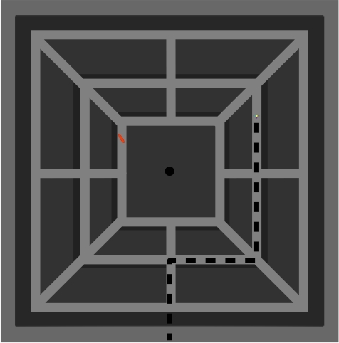 Figure 1a shows an overview of the square maze. The shortest route to							reach the goal figuresismarked.