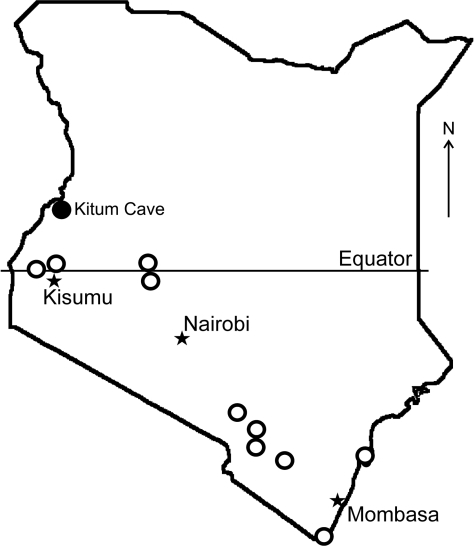 Bat collection sites (open circles) and location of Kitum Cave, Kenya, where Lake Victoria Marburgvirus was detected (solid circle).