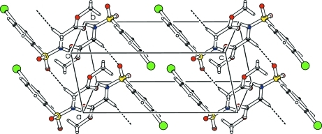 A partial packing diagram. Hydrogen bonds are shown as dashed lines.