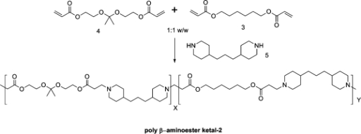 Synthesis of random co-poly-β-aminoester ketal-2.