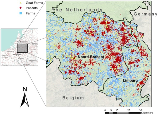 Study area: the eastern part of the province of Noord-Brabant and the northern part of the province of Limburg.Dots represent residential addresses of 92,548 study subjects. Squares represent farms holding a licence to keep livestock. Triangles represent goat farms.