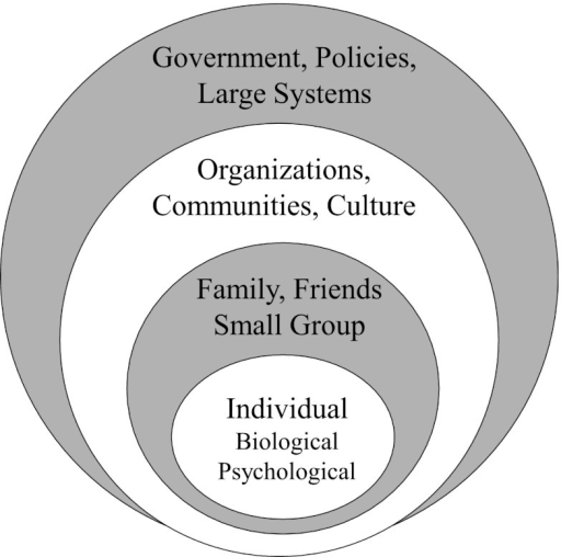 ecological model of health Socio-ecological model--looking beyond the individual  maintaining the  lifestyle changes necessary to reduce risk and improve health, individual  behavior is.
