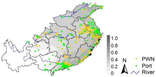 Contour mapping of the ratio of shared M. alternatus haplotypes (Rshr) and the distribution of pinewood nematode (PWN) infested sites (yellow dots) and ports (green dots) within our study area in China after exclusion of the M. alternatus data from Guizhou and Henan.