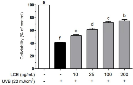 Effects of Lindera coreana leaf ethanol extracts (LCE) on cell viability in UVB (20 mJ/cm2) irradiated HaCaT keratinocytes. Data are representative of three independent experiments as mean ± SD. a~f Mean values with different letters on the bars are significantly different (p < 0.05) according to Duncan's multiple range test