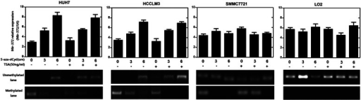 Four HCC cell lines (HUH7, HCCLM3, SMMC7721, LO2) were treated with 5-aza-dCyd, a methyltransferase inhibitor and the miRNA expression levels were assayed using TaqMan miRNA PCR. The expression of mir-372 was restored with 5-aza-dCyd treatment in HUH7 and HCCLM3 cell lines (*P < 0.05,**P < 0.01) and the mir-372 DNA methylation level was inhibited. Treatment with a histone deacetylase inhibitor, TSA, had no influence on the expression of mir-372 in all four cell lines.