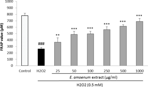 Effect of E. amoenum extract on intra-cellular FRAP value in HUVECs. Cells were incubated with H2O2 (0.5 mM, 2h) after pretreatment with different concentrations of E. amoenum extract (25-1000 μg/ml). Values are means+SEM from three independent experiments in triplicate. ###p<0.001 versus control (untreated cells), **p<0.01 and ***p<0.001 versus H2O2 stimulated cells.